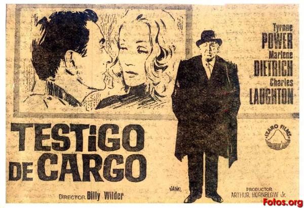 """Testigo de cargo (""""Witness for the prosecution""""). Billy Wilder, 1957."""